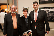 SALMAN RUSHDIE; MILAN RUSHDIE; ZAFAR RUSHDIE, Royal Academy of Arts Summer Exhibition Preview Party 2011. Royal Academy. Piccadilly. London. 2 June <br /> <br />  , -DO NOT ARCHIVE-© Copyright Photograph by Dafydd Jones. 248 Clapham Rd. London SW9 0PZ. Tel 0207 820 0771. www.dafjones.com.