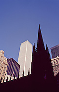Trinity Church & the South Tower of the World Trade Center, NY NY