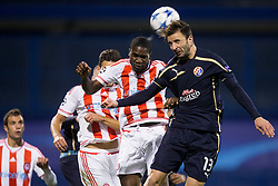 Goncalo Santos #13 of GNK Dinamo Zagreb during football match between GNK Dinamo Zagreb and Olympiakos in Group F of Group Stage of UEFA Champions League 2015/16, on October 20, 2015 in Stadium Maksimir, Zagreb, Croatia. Photo by Urban Urbanc / Sportida