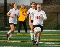 Laconia's Becca Howe controls the ball during NHIAA Division III soccer with Berlin on Tuesday evening.  (Karen Bobotas/for the Laconia Daily Sun)