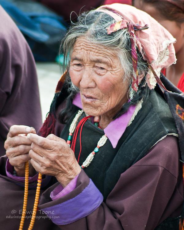 Buddhist listening to the Dalai Lama's teaching in the Nubra Valley of Ladakh.