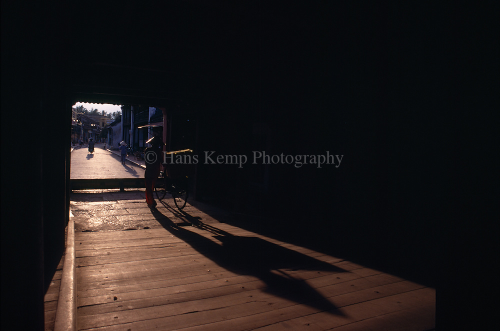 Afternoon shadows on the Japanese Bridge in Hoi An, Vietnam