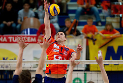 Andrej Flajs of ACH during volleyball match between ACH Volley Bled and UKO Kropa at final of Slovenian National Championships 2011, on April 27, 2011 in Arena SGTS Radovljica, Slovenia. ACH Volley defeated Kropa 3-0 and became Slovenian National Champion 2011. (Photo By Vid Ponikvar / Sportida.com)