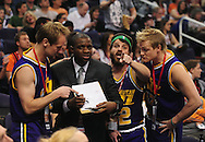 Feb. 15, 2011; Phoenix, AZ, USA; Utah Jazz fans dress up as the Utah Jazz players and coach while playing against the Phoenix Suns at the US Airways Center. Mandatory Credit: Jennifer Stewart-US PRESSWIRE