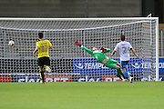 Bury FC goalkeeper Ben Williams (1) unable to stop Burton Albion midfielder Callum Reilly (17) shot from going in the goal during the EFL Cup match between Burton Albion and Bury at the Pirelli Stadium, Burton upon Trent, England on 10 August 2016. Photo by Aaron  Lupton.