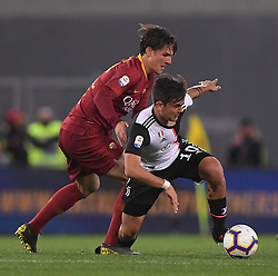 ROME, May 13, 2019  FC Juventus's Paulo Dybala (R) vies with Roma's Nicolo Zaniolo during a Serie A soccer match between Roma and FC Juventus in Rome, Italy, May 12 , 2019. Roma won 2-0. (Credit Image: © Alberto Lingria/Xinhua via ZUMA Wire)