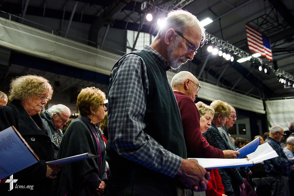 Guests at the 500th Anniversary of the Reformation festival worship service pray on Sunday, Oct. 29, 2017, in the Gangelhoff Center at Concordia University, St. Paul, in St. Paul, Minn. The service was held in conjunction with Concordia University, St. Paul, and the Minnesota North and South Districts of the Lutheran Church-Missouri Synod. LCMS Communications/Erik M. Lunsford