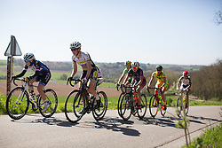 Sophie Duyck (BEL) of Topsport Vlaanderen Etixx Cycling Team leads the breakaway group during the first lap of the Flèche Wallonne Femmes - a 137km road race from starting and finishing in Huy on April 20, 2016 in Liege, Belgium.