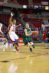 06 December 2008: Mary Lawson drives the lane against Kenyatta Shelton during a game between the Eastern Michigan Eagles and the Illinois State Redbirds on Doug Collins Court inside Redbird Arena on the campus of Illinois State University, Normal Il.