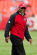 KANSAS CITY, MO - SEPTEMBER 26:   Head Coach Mike Singletary of the San Francisco 49ers watches his team warm up before a game against the Kansas City Chiefs at Arrowhead Stadium on September 26, 2010 in Kansas City, Missouri.  The Chiefs defeated the 49ers 31-10.  (Photo by Wesley Hitt/Getty Images) *** Local Caption *** Mike Singletary