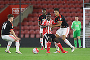 Southampton Olufela Olomola and Manchester United Cameron Borthwick-Jackson battle during the Barclays U21 Premier League match between U21 Southampton and U21 Manchester United at the St Mary's Stadium, Southampton, England on 25 April 2016. Photo by Phil Duncan.