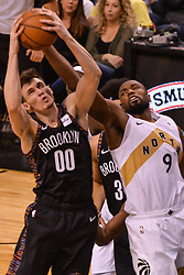 January 11, 2019 - Toronto, Ontario, Canada - Rodions Kurucs #00 of the Brooklyn Nets against Serge Ibaka #9 of the Toronto Raptors during the Toronto Raptors vs Brooklyn Nets NBA regular season game at Scotiabank Arena on January 11, 2019, in Toronto, Canada (Toronto Raptors win 122-105) (Credit Image: © Anatoliy Cherkasov/NurPhoto via ZUMA Press)