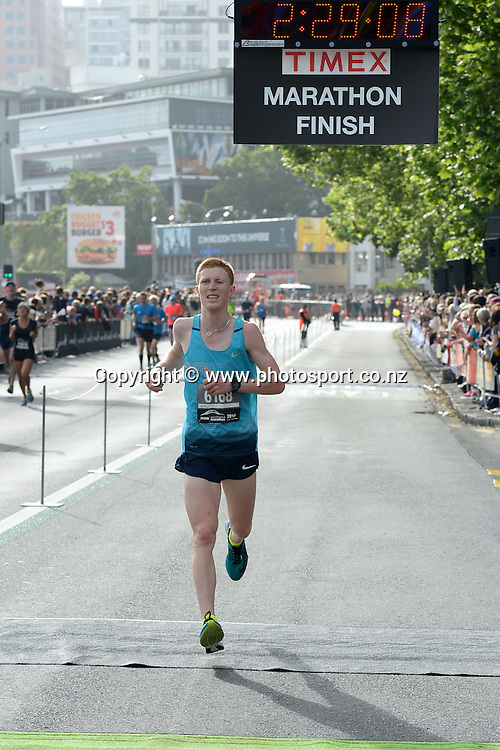 Josh Maisey of Auckland finishes the race in 2h 29m 8s. ASB Auckland Marathon 2014,02 November 2014. Photo: Raghavan Venugopal/www.photosport.co.nz