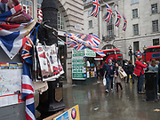 Souvenir shop selling Harry and Megan memorabilia,, London, 30 April 2018