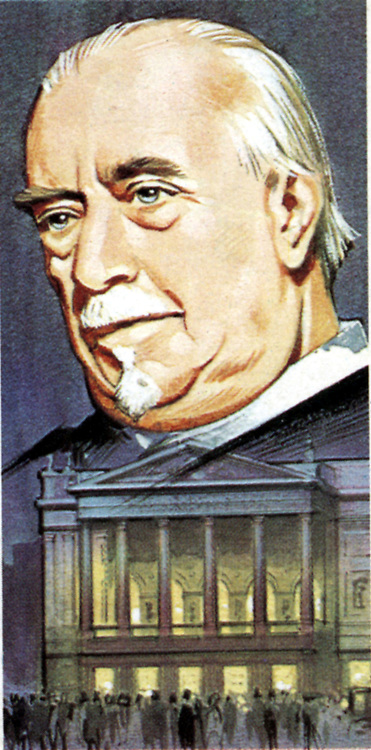 Thomas Beecham (1879-1961) English conductor and impresario, in old age. Below the portrait is the entrance to Covent Garden Theatre, London. From card issued with Brook Bond Tea.