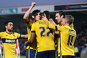 Tyronne Barnett celebrates scoring during the Sky Bet League 2 match between Cheltenham Town and Oxford United at Whaddon Road, Cheltenham, England on 29 November 2014.