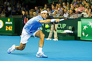 Juan Martin del Potro of Argentina in action during the Davis Cup Semi Final between Great Britain and Argentina at the Emirates Arena, Glasgow, United Kingdom on 16 September 2016. Photo by Craig Doyle.