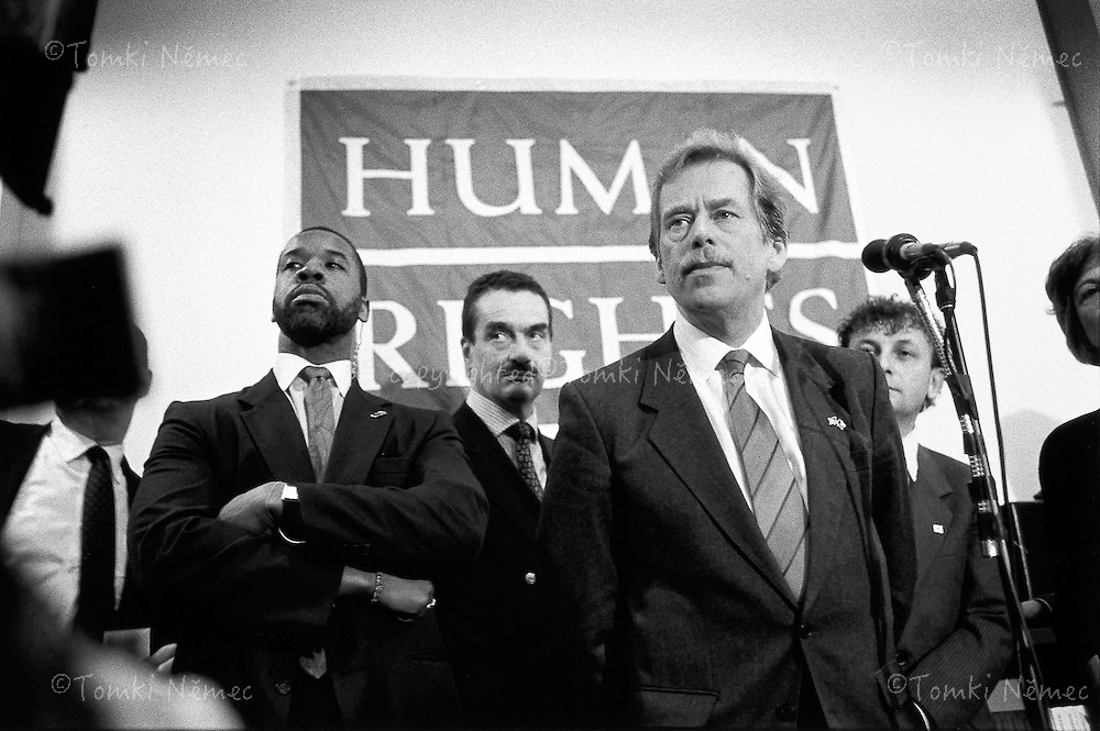USA, 22 February 1990 - New York.Vaclav Havel at the Headquarters of the human rights organization Helsinki Watch; he expressed his thanks for the help given to the opposition in Czechoslovak in previous years.