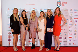 LIVERPOOL, ENGLAND - Tuesday, May 9, 2017: Liverpool's Sophie Ingle, Natasha Harding, Alex. Greenwood, Laura Coombs, Gemma Bonner, Siobhan Chamberlain arrive on the red carpet for the Liverpool FC Players' Awards 2017 at Anfield. (Pic by David Rawcliffe/Propaganda)