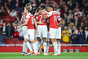 Arsenal celebrate their second goal (2-0) by Arsenal forward Danny Welbeck (23) during the Europa League group stage match between Arsenal and FC Voskla Potlava at the Emirates Stadium, London, England on 20 September 2018.