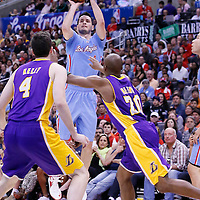 06 April 2014: Los Angeles Clippers guard J.J. Redick (4) takes a jumpshot during the Los Angeles Clippers 120-97 victory over the Los Angeles Lakers at the Staples Center, Los Angeles, California, USA.