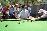 ULAN BATOR, MONGOLIA..08/21/2001.Pool billiard businesses near Sukhbaatar Square..(Photo by Heimo Aga)