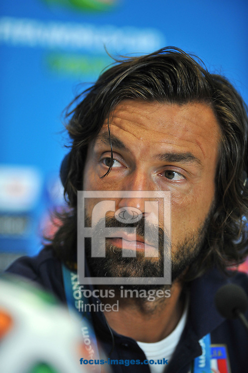 Italy captain Andrea Pirlo during a press conference at Arena das Dunas, Natal<br /> Picture by Stefano Gnech/Focus Images Ltd +39 333 1641678<br /> 23/06/2014