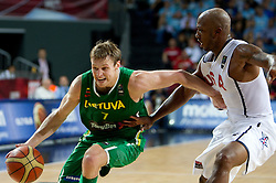 Martynas Pocius of Lithuania vs Chauncey Billups of USA during the first semifinal basketball match between National teams of USA and Lithuania at 2010 FIBA World Championships on September 11, 2010 at the Sinan Erdem Dome in Istanbul, Turkey.   (Photo By Vid Ponikvar / Sportida.com)