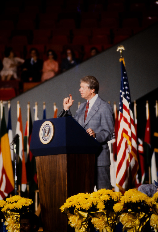 President Jimmy Carter addresses a gathering of Southern Baptist Men at a faith based conference in Atlanta, GA. <br /> Carter later split from the Southern Baptists due to their exclusion of minorities.