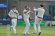 Wicket - Michael Clayton of Kent celebrates taking the wicket of Tom Abell of Somerset during the Specsavers County Champ Div 1 match between Somerset County Cricket Club and Kent County Cricket Club at the Cooper Associates County Ground, Taunton, United Kingdom on 7 April 2019.