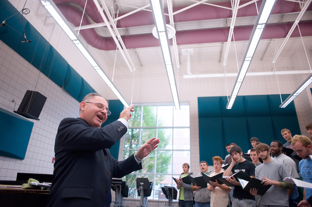 Singing Men of Ohio practices for a Halloween concert on Thursday, Oct. 30. Nearly every ensemble and group in the School of Music is participating in it....Peter Jarjisian instructing