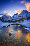 Evening light over the Tetons from Cottonwood Creek in winter, Grand Teton National Park, Wyoming USA
