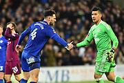 Sean Morrison (4) of Cardiff City is congratulated by Neil Etheridge (25) of Cardiff City after stopping Raheem Sterling (7) of Manchester City from scoring during the The FA Cup 4th round match between Cardiff City and Manchester City at the Cardiff City Stadium, Cardiff, Wales on 28 January 2018. Photo by Graham Hunt.