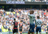 Football - 2018 / 2019 Premier League - Tottenham Hotspur vs. Huddersfield Town<br /> <br /> Lucas Moura (Tottenham FC)  blows a kiss to his family in the stands after scoring at The Tottenham Hotspur Stadium.<br /> <br /> COLORSPORT/DANIEL BEARHAM