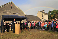 A rainbow day...... as Michael Ring TD, Minister of State for the Department of Tourism and Sport officiated over the 'Sod Turning' on the site of the Scoil Padraig Westport on the Newport Rd.<br /> Pic Conor McKeown