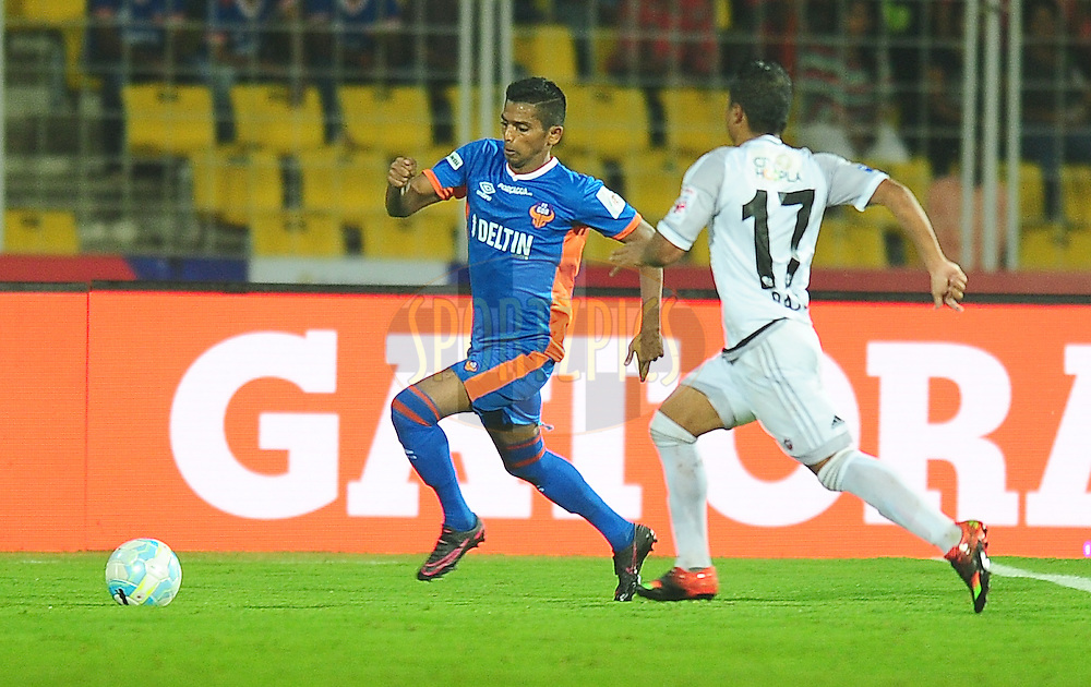 Raju Gaikwad of FC Goa during match 8 of the Indian Super League (ISL) season 3 between FC Goa and FC Pune City held at the Fatorda Stadium in Goa, India on the 8th October 2016.<br /> <br /> Photo by Faheem Hussain / ISL/ SPORTZPICS