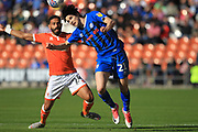 Sam Hart wins the ball during the EFL Sky Bet League 1 match between Blackpool and Rochdale at Bloomfield Road, Blackpool, England on 6 October 2018.