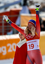 PYEONGCHANG-GUN, SOUTH KOREA - FEBRUARY 21:  Ragnhild Mowinckel of Norway celebrates during the Ladies' Downhill on day 12 of the PyeongChang 2018 Winter Olympic Games at Jeongseon Alpine Centre on February 21, 2018 in Pyeongchang-gun, South Korea. Photo by Ronald Hoogendoorn / Sportida