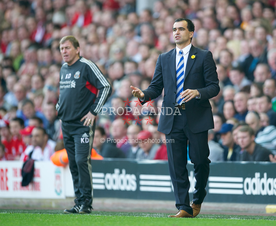 LIVERPOOL, ENGLAND - Saturday, March 24, 2012: Wigan Athletic's manager Roberto Martinez during the Premiership match against Liverpool at Anfield. (Pic by David Rawcliffe/Propaganda)