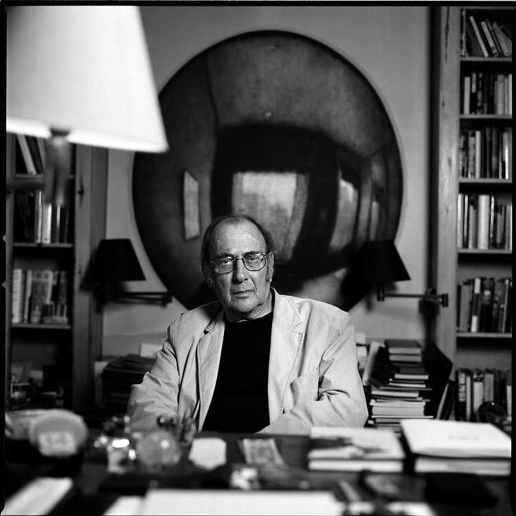 Playwright Harold Pinter photographed in his writing studio in West London the year before his death.