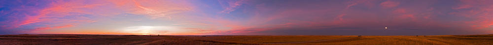 A 360° panorama taken night of Harvest Moon, Sept 14, 2008, with moonrise having ocurred 25 minutes before sunset. This taken about 20 minutes after sunset with Moon well up and having cleared horizon cloud. Taken with Canon 20Da and 24mm Canon L lens, at f/10, on manual set to 1/5 second at ISO 100 for every one of 12 frames, taken 30° apart.