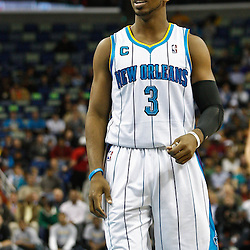 February 7, 2011; New Orleans, LA, USA; New Orleans Hornets point guard Chris Paul (3) against the Minnesota Timberwolves during the second quarter at the New Orleans Arena.   Mandatory Credit: Derick E. Hingle