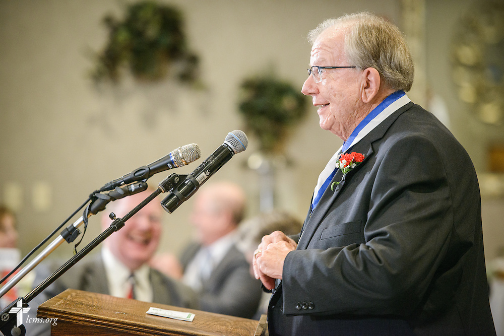 "The Rev. Dr. William Wagner, a ""Christus in Mundo (""Christ in the World"") award recipient, speaks at the SPM Zion XVI Conference award banquet on Saturday, Sept. 17, 2016, at the National Shrine of Our Lady of the Snows in Belleville, Ill. LCMS Communications/Erik M. Lunsford"