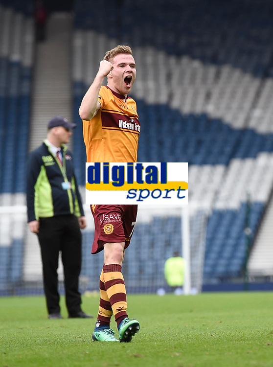 Chris Cadden celebrates at full time in the match between Motherwell v Aberdeen, William Hill Scottish Cup (SFA) - Semi-Final at Hampden Park. Saturday 14 April 2018, COLORSPORT