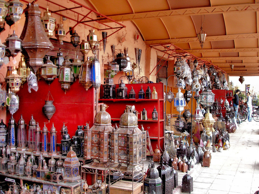 Metal Lanterns Displayed at Souk Haddadine in Marrakech, Morocco <br />