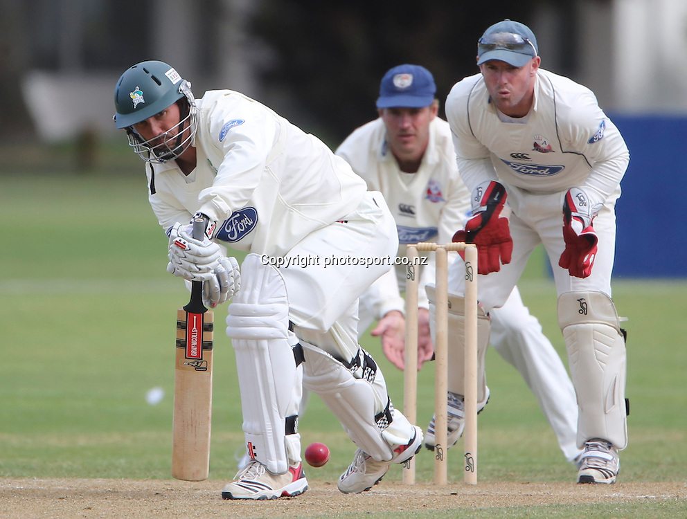 Stags Mathew Sinclair plays a shot in the Plunket Shield cricket match between the Central Districts Stags and the Auckland Aces at Nelson Park, Napier,  New Zealand. Wednesday, 07 November, 2012. Photo: John Cowpland / photosport.co.nz