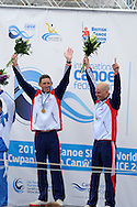 Great Britain's David Florence (l)and Richard Hounslow (r) celebrate  winning the C2 (Canoe double) mens final.  ICF Canoe slalom world cup at the Cardiff white water centre in Cardiff, South Wales on Sunday 10th June 2012.  pic by Andrew Orchard, Andrew Orchard sports photography,