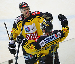 26.02.2017, Albert Schultz Halle, Wien, AUT, EBEL, UPC Vienna Capitals vs HC TWK Innsbruck Die Haie, Playoff, im Bild Torjubel Macgregor Sharp (UPC Vienna Capitals) und Ryan Conner Mckiernan (UPC Vienna Capitals) // during the Erste Bank Icehockey League playoff match between UPC Vienna Capitals and HC TWK Innsbruck Die Haie at the Albert Schultz Ice Arena, Vienna, Austria on 2017/02/26. EXPA Pictures © 2017, PhotoCredit: EXPA/ Thomas Haumer