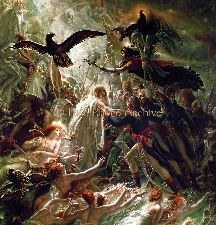 Anne-Louis Girodet de Roussy-Trioson, (French Neoclassical Painter, 1767-1824). 'Ossian Receiving the Ghosts of the French Heroes' 1802.