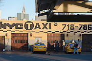 USA, New York, Manhattan,  midtown skyline, Queens Taxi hub